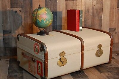Vintage Travel Wardrobe Trunk, hard side steamer travel trunk with divided inter