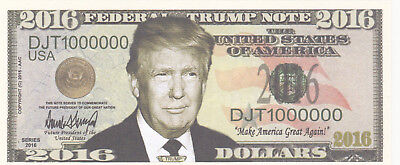 2 (Two) Donald Trump for President 2016 Novelty Dollars