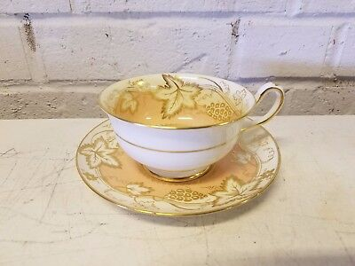 Royal Chelsea English Fine Bone China Painted Cup & Saucer w/ Leaf & Fruit Dec.
