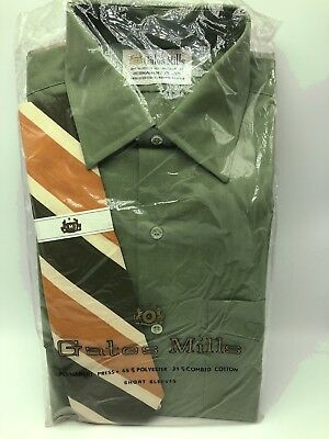 Gates Mills Dress Shirt Tie Set Green Orange Striped Short Sleeve 15 1/2