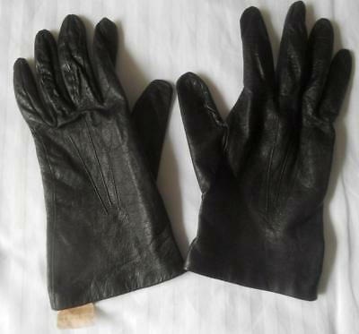 Ladies Vintage 1950S Black Leather Gloves With Pure Silk Lining Made England 7