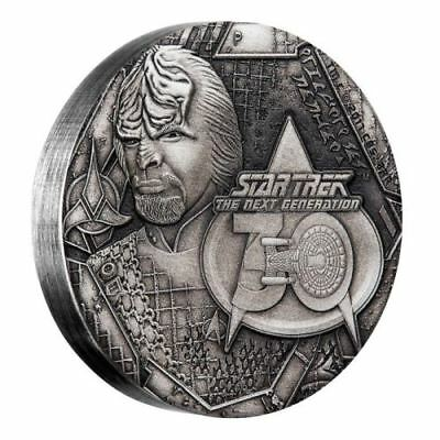 Star Trek Next Generation Lieutenant Commander Worf 2017 2oz Silver Antique Coin