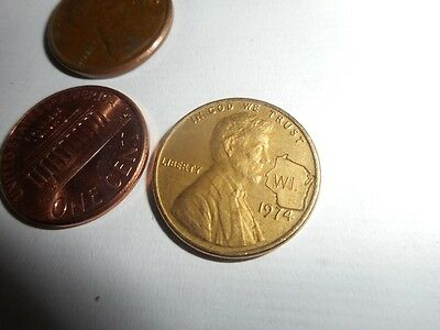 WI. State Stamped 1974 Lincoln BRASS Penny Vintage Cent Rare Collection Last one