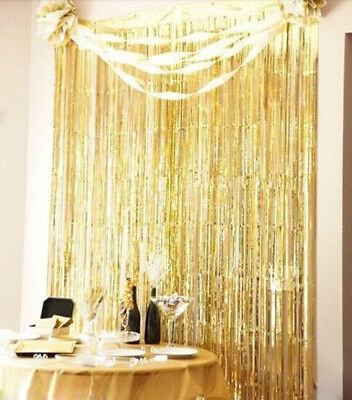 3' x 8' Metallic Foil Fringe Rain Tassel Curtain Decor  Wedding Party Backdrop