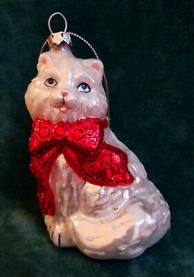 White Cat Glass Ornament - New in Box