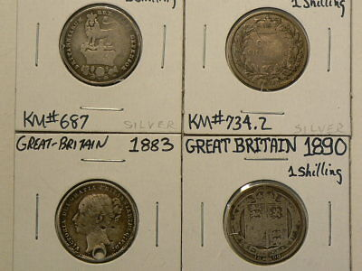 Great Britain Lot of 4 Silver Shillings 1825 1873 1883 & 1890  #G8038