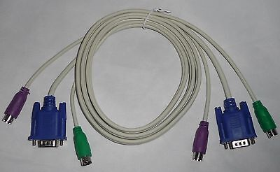 1.4m KVM Cable ~ New ~ Keyboard PS/2, Video VGA, Mouse PS/2 - MALE To MALE plugs