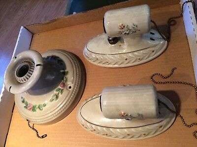 (3) vintage ceramic light fixtures w/ pull cords made by M.S.W. Mfg. Co. Buffalo