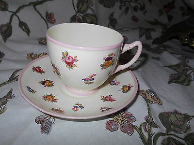 Adderley Lawley Floral Chintz  Bone China Tea Cup &Saucer~Lovely tea party size