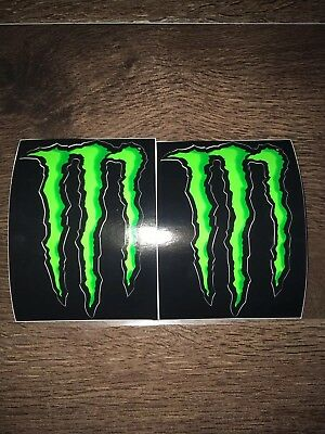 """Monster Energy Claw Black & Green Stickers x2, Brand New! 4"""""""