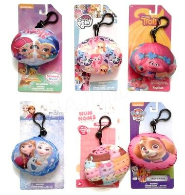 Disney Nickelodeon Plush Character Soft Zip Backpack Clip Keychain NIP