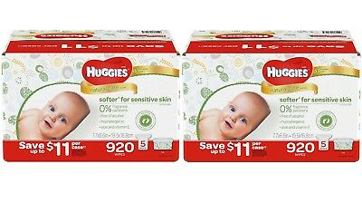 2 CASES of Huggies Natural Care Baby Wipes 920 ct. Fragrance & Alcohol Free
