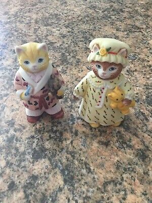 Kitty Cucumber Lot of 2 Nightgown with Teddy Bear Schmid Vintage