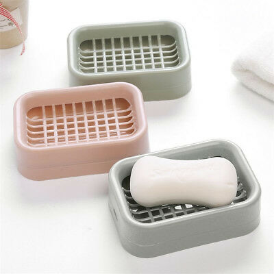 Practical Double Layer Bathroom Soap Dish Case Holder Box Container^