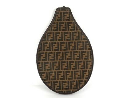 100% Authentic FENDI Zucca Canvas Leather Racquet Cover Brown Made in Italy