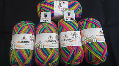 my boshi Wolle Nr.1 Multicolor C8 Papagei 5 Knäuel a50gr.+2 Label