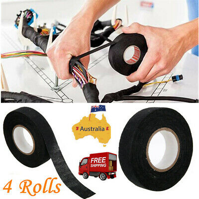 4 Rolls Heat Resistant Wiring Loom Harness Adhesive Cloth Fabric Tapes 19MM*15M