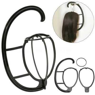 2 Pack Black Durable Wig Hanger Portable Hanging Wig Stand for All Wigs and Hats