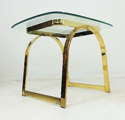 Vintage Mid Century Modern Hollywood Regency Brass Metal Side Table
