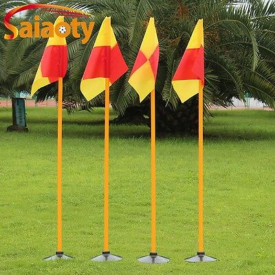 4pcs Soccer Speed Agility Training Poles With Turf Base 2 Section Triangle Flags