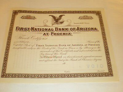 First National Bank of Arizona at Phoenix Stock Certificate early 1900's