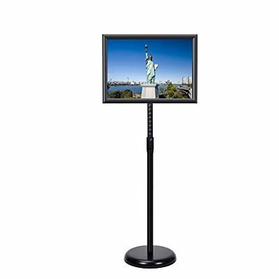 "11""x17"" Adjustable Pedestal Sign Holder Floor Stand with Telescoping Post Black"