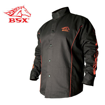 Stryker™ Flame Resistant Welding Jacket - Blk With Red Trim And Flames Size 2XL