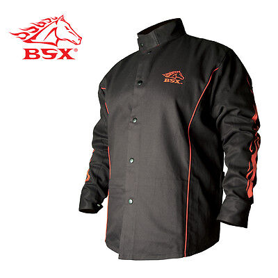 Stryker™ Flame Resistant Welding Jacket - Blk With Red Trim And Flames Size M