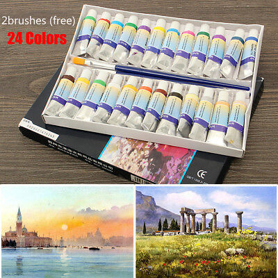 24 Colors Professional 5ml Paint Tube Gouache Drawing Watercolor w/ 2 Brushes