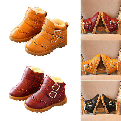 Baby Kids Boys Girls Snow Boots Winter Warm Fur Lined Cotton Antiskid Ankle Boot