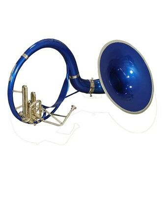 CHRISTMAS GIFT SOUSAPHONE SMALL Bb PITCH BLUE + BRASS W/ FREE CARRY BAG+MP+SHIP