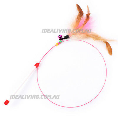 Cat Kitten Teaser Feather Toy Wire Chaser Wand with Bell