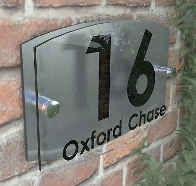Modern Acrylic House Signs Plaque Door Number 1 - 99 Personalised Plate EMA5-19B