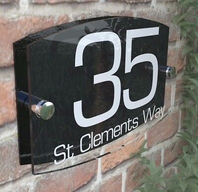 House Sign Plaques Door Number 1 - 999 Personalised Name Plate EMA5-8W