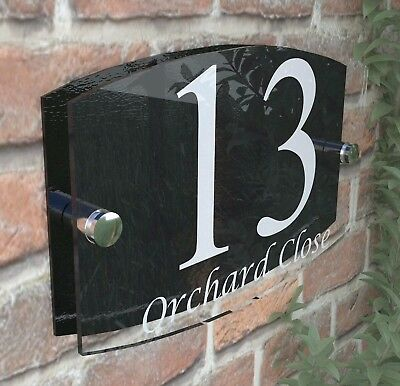 House Sign Plaques Door Number 1 - 999 Personalised Name Plate EMA5-13W