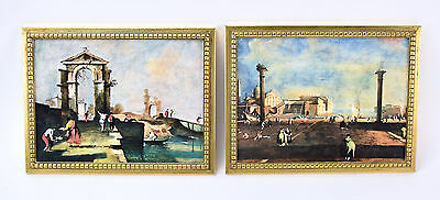 Pair Italian Hand Painted Pottery Plaques Depicting Venetian Architectural Scene