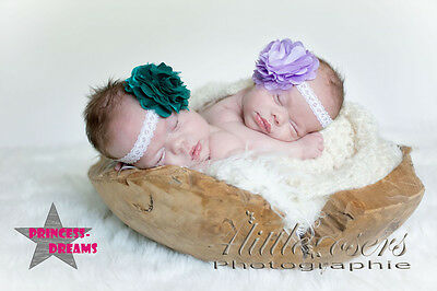 Princess-Dreams 393 Baby Mädchen Haarband Stirnband Blume teal Fotoshooting