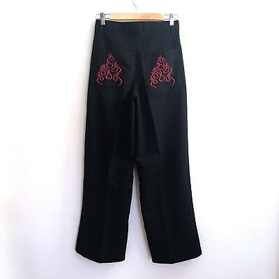 Vtg 90s Flame Pants High Waist Wide Jnco Black Hot Topic Marilyn Manson Sz 28