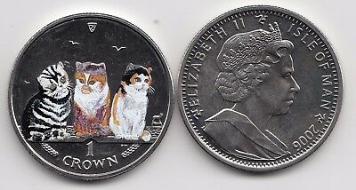 2006 Isle Of Man Shorthair Cats - Uncirculated Coloured Crown Coin - Pobjoy Mint