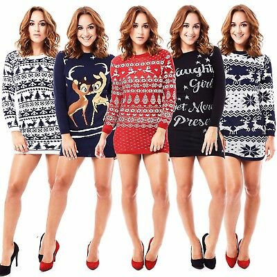 Ladies Womens Christmas Tunic Jumper Sweater New Novelty Xmas Knitted Retro