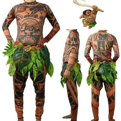 Moana Maui Tattoo T Shirt / Pants Halloween Adult Mens Women Cosplay Costume New