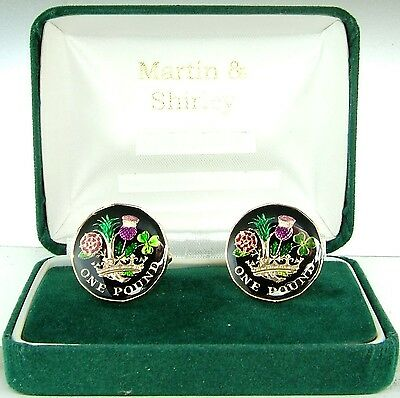 2017  NEW 12 Sided £1 Cufflinks made from real coins Black Gold & Colours