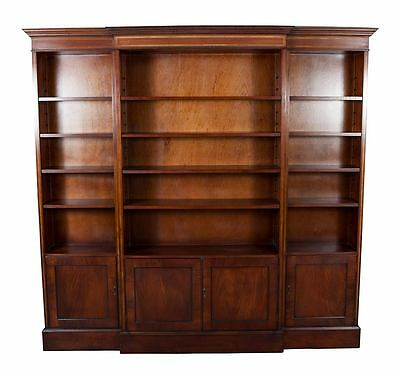 Large Wide Antique Style Triple Breakfront Office Bookcase Bookshelf w Cabinets