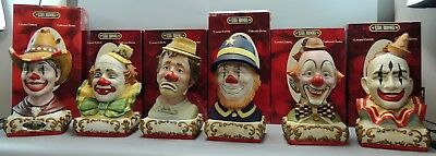 1978,1979 &1980 Ezra Brooks Limited Edition Figural Clown Decanter - Rare 6/Set