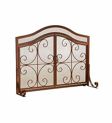 Large Crest Fireplace Screen with Doors Solid Wrought Iron Frame with Metal M...