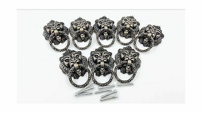 Dresser Drawer Cabinet Door Ring Lion Head Pull Handle Knob 8pcs (C) C