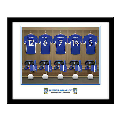 PERSONALISED Sheffield Wednesday FC Football Dressing Room Framed Print 16x13