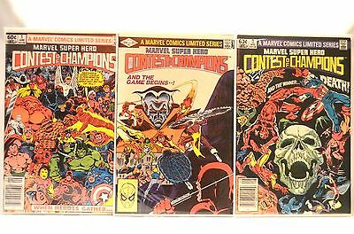 Marvel Super Hero Contest of Champions 1-3 Complete Set VF to VF Plus!!!
