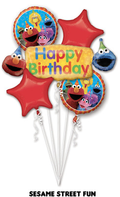 SESAME STREET, BIRTHDAY Foil Balloon Bouquet 5, Anagram SEALED, ELMO