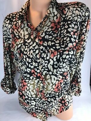 Notations Women S Shirt Top Button Up Leopard Blouse Size 1x H112